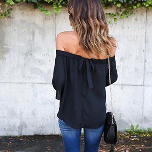 Ouneed Mujeres de moda de color sólido hombro Tops camisa de manga larga blusa casual Negro