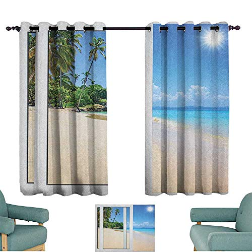 (WinfreyDecor Ocean Simple Curtain Ocean View from The Window on The Island Scenery Traveling Destination for Living, Dining, Bedroom (Pair) 55