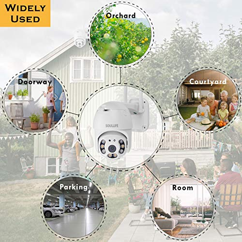 Security Camera Outdoor, SoulLife 1080P HD Pan Tilt 360°View with Waterproof Motion Detection Alarm Two-Way Audio Night Vision WiFi Home Smart Camera