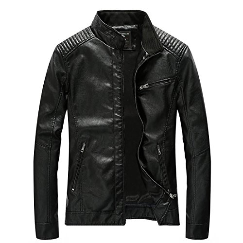 - Nantersan Men's Leather Jacket Stand Collar Slim PU Mens Faux Fur Coats Motorcycle Jacket