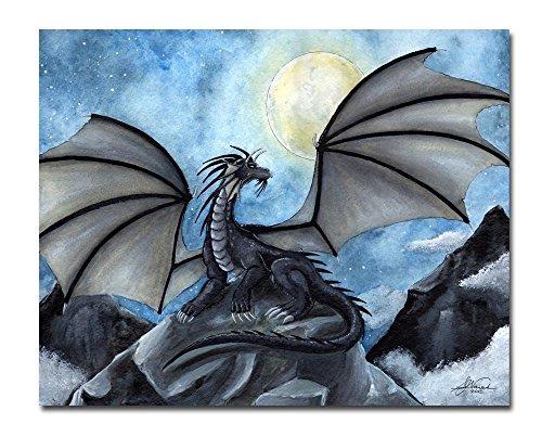 """Fantasy Dragon 8x10 Art Print """"Dark Night"""""""