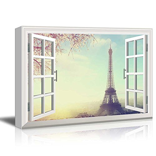 Art Tower Canvas (wall26 Window View Canvas Wall Art - Eiffel Tower in Paris with Cherry Blossom - Giclee Print Gallery Wrap Modern Home Decor Ready to Hang - 24x36 inches)