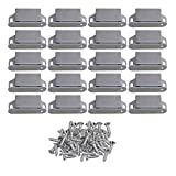 RDEXP 55x25x13mm Silver Stainless Steel Magnetic Cabinet Cupboards & Door Latch Catch Closures with Screws Set of 20