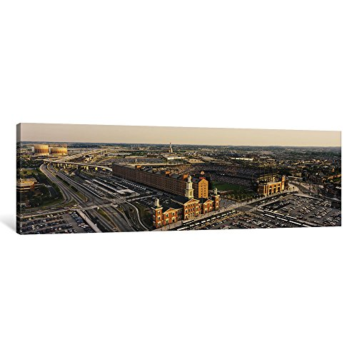 iCanvasART 1 Piece Aerial View of a Baseball Stadium in a City, Oriole Park at Camden Yards, Baltimore, Maryland, USA Canvas Print by Panoramic Images, 0.75 by 36 by 12-Inch