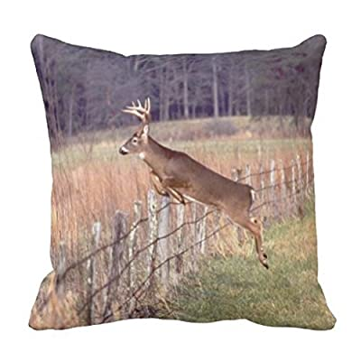 Jumping Whitetail Deer In Field Fall Season Throw Pillow Case