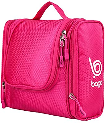 Bago Hanging Toiletry Bag - Men and Women's Travel Cosmetic Organizer - Great kit for your makeup and shaving needs