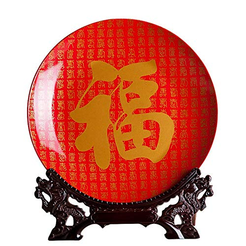 Decorative Plate with Dragon Shaped Stand, Chinese Vintage Gold Red Fu Quote Painting, Handmade White Ceramic Art Decoration Ornament Plates for Display Living Room Table Decor