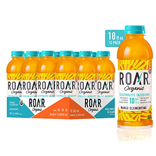ROAR Organic Electrolyte Infusions 12-Pack - USDA Organic with Antioxidants & B-Vitamins | Low-Calorie, Low-Sugar, Low Carb Beverage (Mango Clementine)