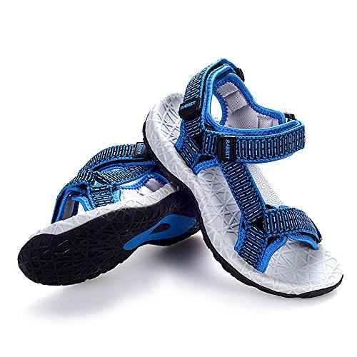 Bwiv sandalias deportivas velcro niño con correa trasera ajustable sandalias antideslizantes punta abierta de las tallas 27-37 Azul