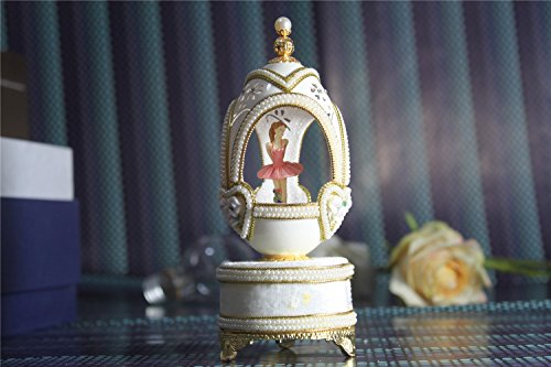 White Pearl Music Box For Girls Easter Egg Artists Musicbox Eggshell Art Music Box Ballerina Dance Ballet by Biscount