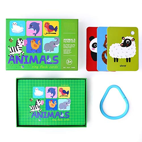 PicoHemmo Animals Words Flash Cards for Kids, 52 Cards Animal Letter Visual 3''x4.5'' with Ring Designed for Ages 3+ Years Kids