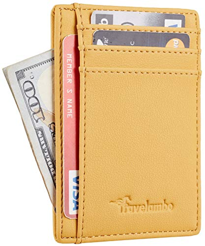Travelambo Front Pocket Minimalist Leather Slim Wallet RFID Blocking Medium Size(Vipor Yellow)
