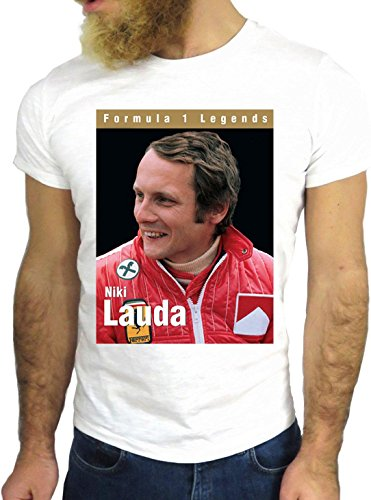 T-SHIRT JODE GGG24 Z0707 LAUDA FORMULA 1 FUN COOL VINTAGE ROCK FUNNY FASHION CARTOON NICE AMERICA BIANCA - WHITE XL
