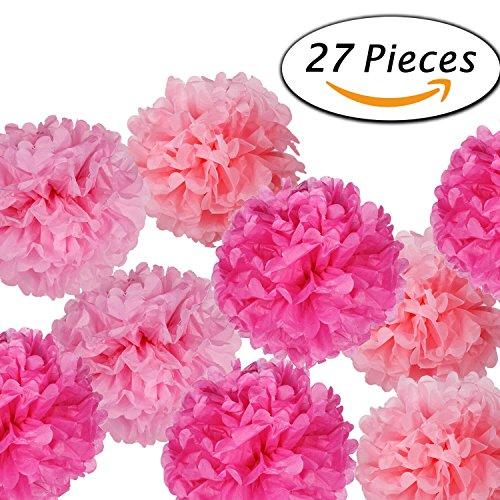 Paxcoo 27 pcs Tissue Paper Pom Poms Flowers for Wedding Birt