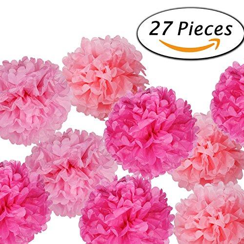Paxcoo 27 pcs Tissue Paper Pom Poms Flowers for Wedding Birt