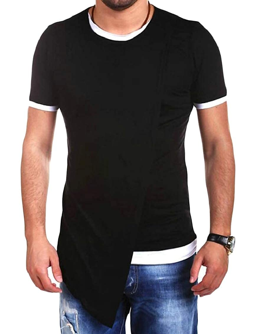 Hajotrawa Mens Basic Irregular Fake Two Crewneck Stretch Pullover Top Tee Shirts