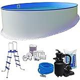 Pool-Set KOMFORT Ø 3,50 x 1,20 m rund - 0,6mm Stahlmantel + 0,6mm Innenhülle (blau) mit Einhängebiese - inkl. Einstiegsleiter, Schlauch-Set, hochwertiger 3,6 m³/h Sandfilter, 25 kg Sand, Skimmer-SET, etc.