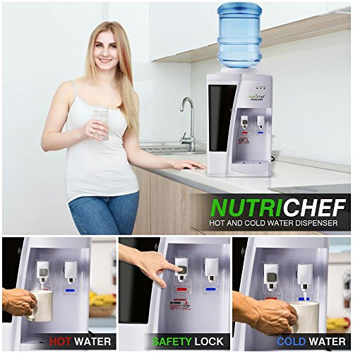 Nutrichef Countertop Water Cooler Dispenser - Hot & Cold Water, with Child Safety Lock.