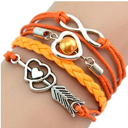 Vintage Boho The Arrow Of Love Heart Pearl Friendship Antique Leather Charm Multilayer Cuff Bangle Bracelet (Orange)