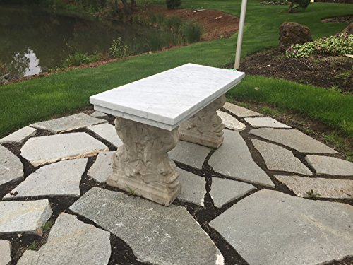 Carrara White Polished Italian Marble Outdoor Bench with Fish or Scroll Motif Concrete Legs - FREE SHIPPING (Scroll Motif)