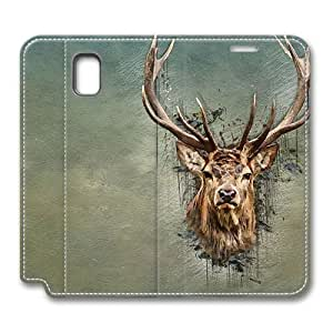 Brain114 Fashion Style Case Design Flip Folio PU Leather Cover Standup Cover Case with Deer 5 Pattern Skin for Samsung Galaxy Note 3