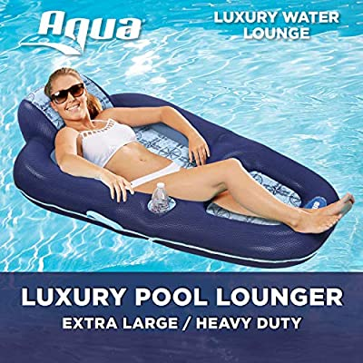 Aqua Luxury Water Lounge Inflatable Pool Float with Headrest from Aqua