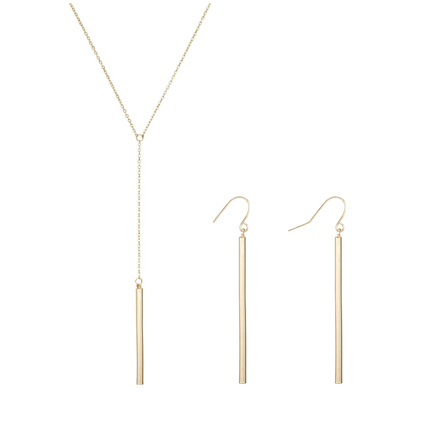 2Pcs Y Pendant Necklace Bar Earring Set Lariat Necklace Long Stick Drop Dangle Earring for Women