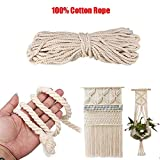 FINCOS 8MM/10MM Macrame Cord Natural Cotton Handmade Macrame String Wall Hangings Plant Hanger Twisted Rope - (Color: 8MM x 50Meters)