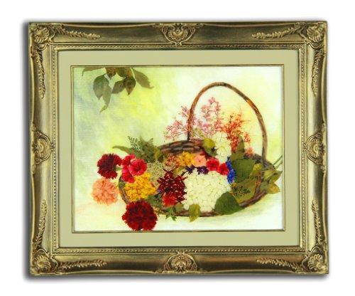 Pressed Flower Arrangements Basket Bouquet Framed Antique