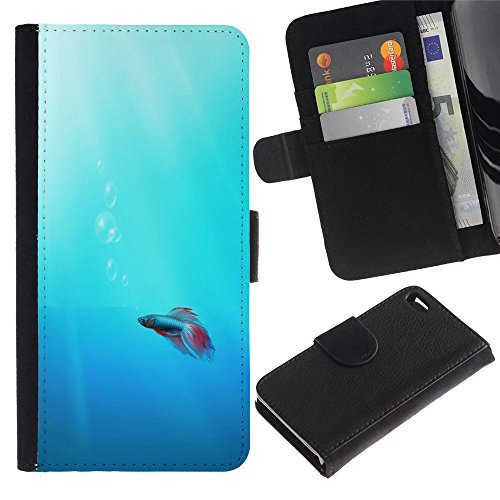 LASTONE PHONE CASE / Luxe Cuir Portefeuille Housse Fente pour Carte Coque Flip Étui de Protection pour Apple Iphone 4 / 4S / Cute Neon Coral Fish
