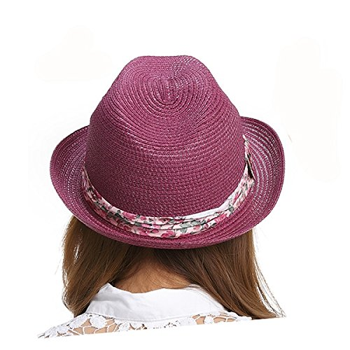 Aabigale beautiful Lady Boater Sun Caps Ribbon Round Flat Top Straw Fedora  Panama Hat Summer Hats 99269ca70b6