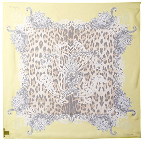 (ROBERTO CAVALLI Women's Patterned Silk Scarf, Yellow/Leopard Print)