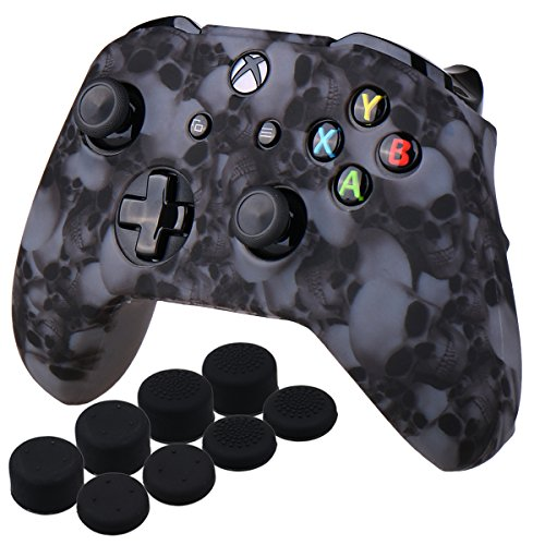 YoRHa Water Transfer Printing Skull Silicone Cover Skin Case for Microsoft Xbox One X & Xbox One S controller x 1(grey) With PRO thumb grips x 8