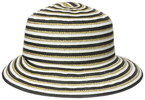 Gottex Women's Pippa Toyo Metallic Straw Accented Packable Sun Hat Rated UPF 50+, Black/White/Gold, One Size