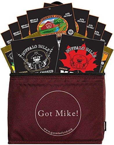 Flower Basket Sampler - Buffalo Bills 12-Piece Beef Jerky Sampler Got Mike 6-Pack Gift Cooler (12 mixed 1.5oz jerky packs)