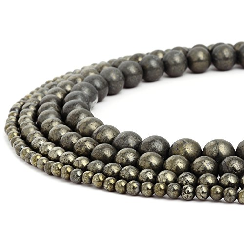 Pyrite Beads - RUBYCA Wholesale Natural Pyrite Gemstone Round Loose Beads for DIY Jewelry Making 1 Strand - 8mm