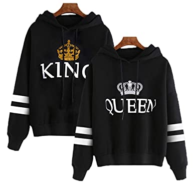 541b8e4467 Amazon.com: YJQ King Queen Hoodies Couple Matching Striped Sleeve Crown  Printed Pullover Hooded Sweatshirts Set: Clothing