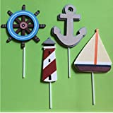 Wooden Nautical Cutouts, Nautical Theme Large Cupcake...