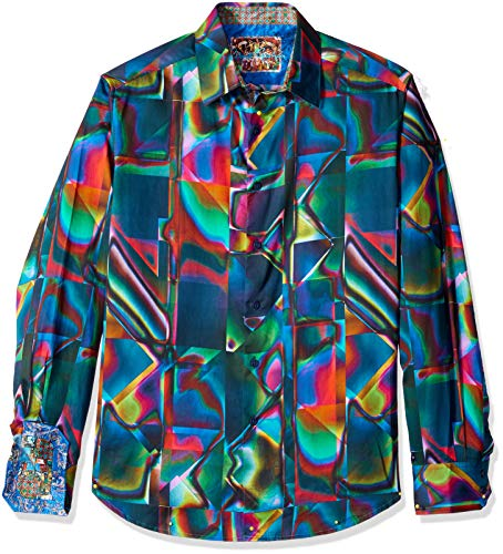 Robert Graham Men's GRAHALL of Mirrors Long Sleeve Classic FIT Shirt, Multi, Large