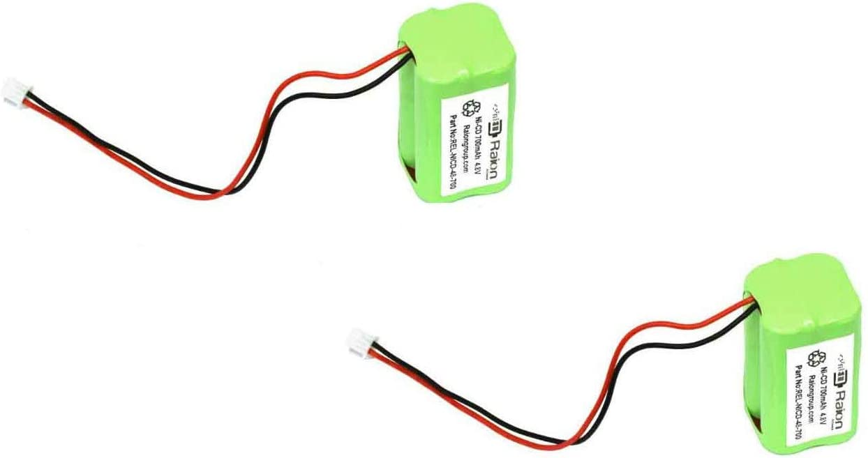 2 Pack Raion Power REL-NICD-48-700 4.8V 700mAh Replacement Nickel Cadmium Exit Light Battery for All Fit EJW-NICAD
