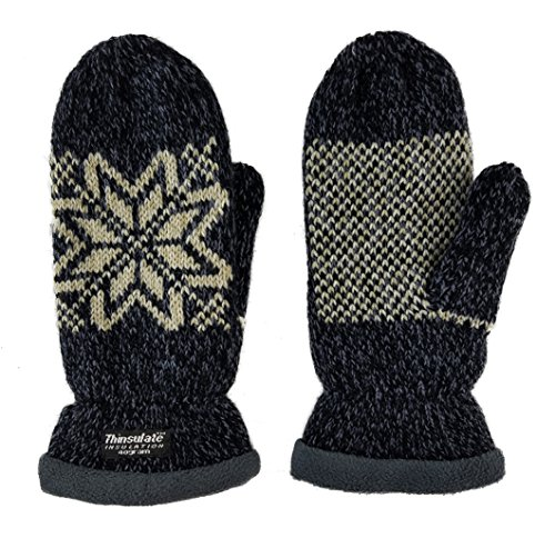Bruceriver Women Snowflake Knit Mittens with Warm Fleece Lining (Dk.Navy)