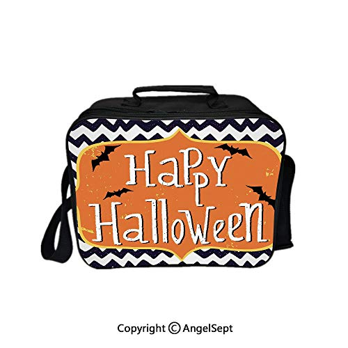 Hot Sale Lunch Container,Cute Halloween Greeting Card Inspired Design Celebration Doodle Chevron Decorative Indigo White Orange 8.3inch,Lunch Bag Large Cooler Tote Bag For Men, -