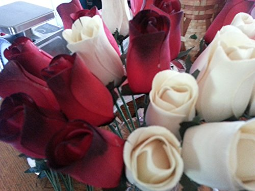 Dozen Black Roses (2 Dozen Wooden Roses Red with Black Tip & Creme Colored - Little Chicago Distributing)