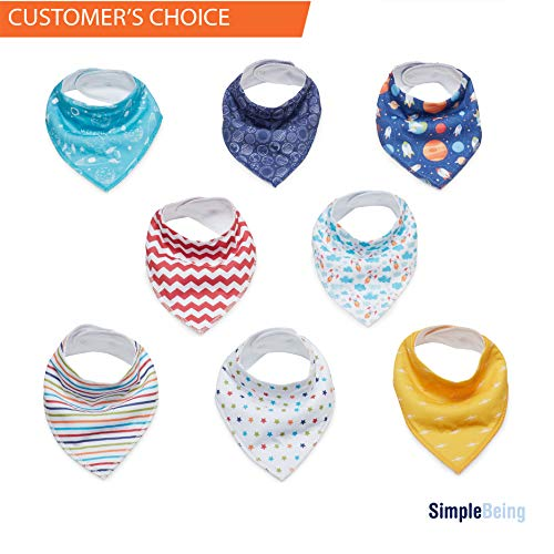 Simple Being Baby Bandana Drool Bibs (8-Pack, Outer Space), for Drooling Teething Boys and Girls, Soft Absorbent Hypoallergenic, Infant to Toddler Burp Cloths Unisex, Great Gift Registry Item