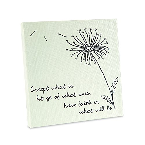 Faith Plaque - Pavilion - Accept What is, Let Go of What was, Have Faith in What Will Be - Dandelion Blowing in The Wind - Green Canvas 5x5 Inch Plaque