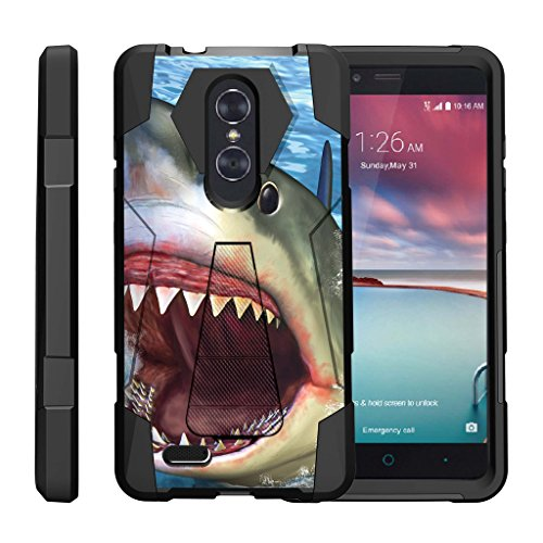 TurtleArmor | ZTE ZMax Pro Case | ZTE Blade X Max Case | ZTE Carry [Dynamic Shell] Hybrid Duo Cover Impact Absorbent Shock Silicone Layer Kickstand Hard Shell Animal Design - Shark Attack