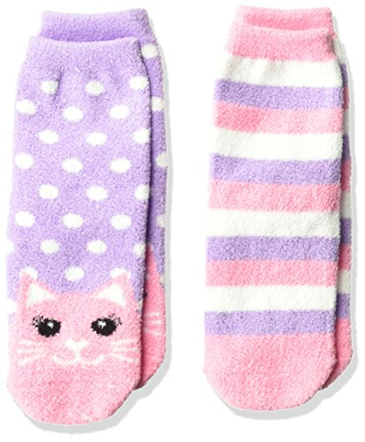 Jefferies Socks Little Girls' Cat and Stripe Fuzzy Non-Skid Cozy Socks 2 Pair Pack, Purple, Small