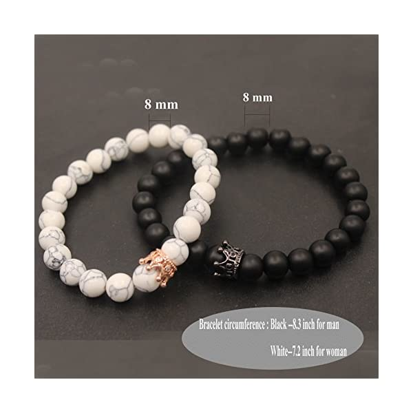 UEUC King & Queen Crown Couple Bracelets His and Her Friendship 8mm Beads Bracelet