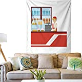Anyangeight Horizontal Tapestry Worker in Red Uniform with Fridge...
