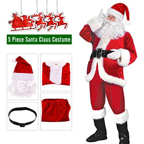 Santa Suit Santa Claus Costumes Adult Men's Red Flannel Christmas Clothes 5PC]()